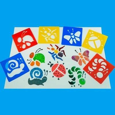 Bugs Washable Stencils - Assorted - Pack of 6