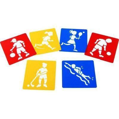 Sports Washable Stencils - Assorted - Pack of 6