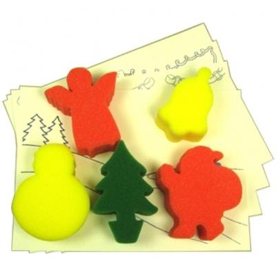 Christmas Painting Sponges - Assorted - Pack of 5