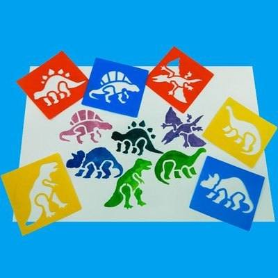Dinosaur Washable Stencils - Assorted - Pack of 6