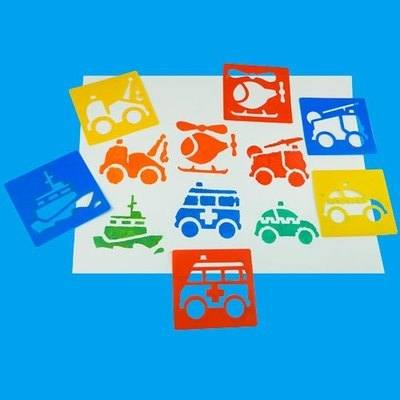 Emergency Vehicles Washable Stencils - Assorted - Pack of 6