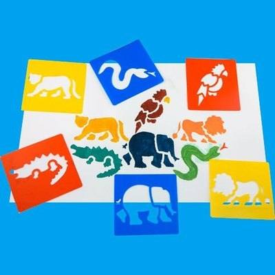 Jungle Washable Stencils - Assorted - Pack of 6