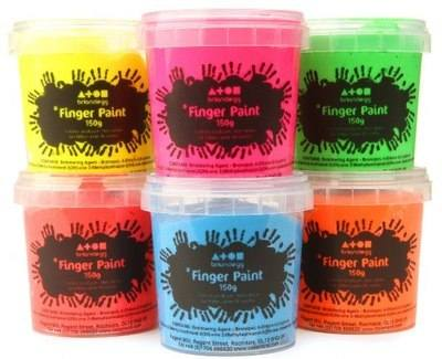 Fluorescent Finger Paint - Assorted - Pack of 6 x 500ml