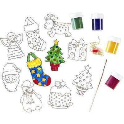 Christmas Decoration Glass Painting Set - Assorted - Pack of 24