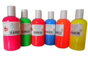 Fluorescent Textile Paint - Assorted - Pack of 6 x 150ml