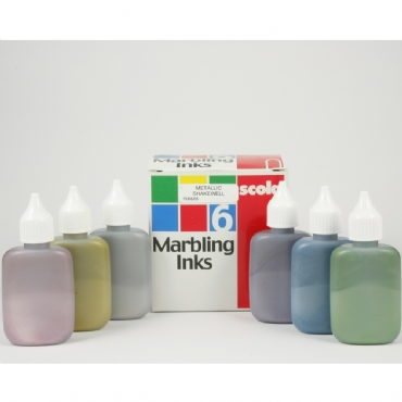 Metallic Marbling Inks - Assorted - Pack of 6 x 25ml