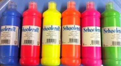 Schoolcraft Fluorescent Ready Mixed Paint Set - Assorted - 6 x 600ml