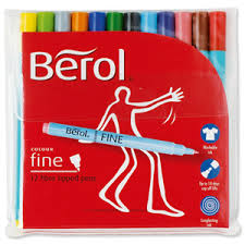 Berol Colour Fine Colouring Pens - Assorted - Pack of 12