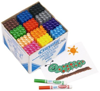 Crayola Beginners Mini Kids Markers - Assorted - Class Pack of 144 - 1 year