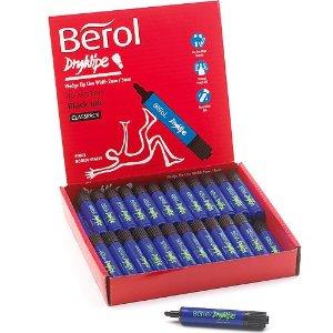 Berol Dry Wipe Markers - Black - Pack of 48