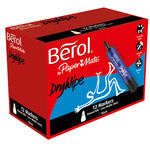 Berol Dry Wipe Markers - Blue - Pack of 12