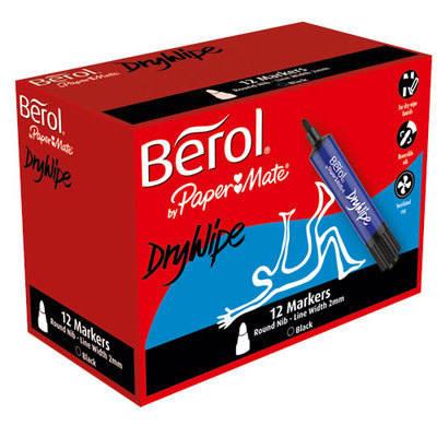 Berol Dry Wipe Markers - Black - Pack of 12