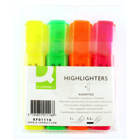 Q Connect Highlighter Markers - Assorted - Wallet of 4