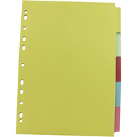 Subject Divider - A4 - Multi-Punched 5-Part - Assorted - Pack of 5