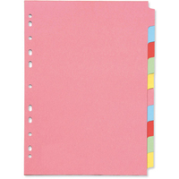 Subject Divider - A4 - Multi-Punched 10-Part - Assorted - Pack of 10