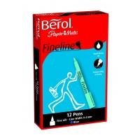 Berol Fineline Pens - Black - 0.4mm - Pack of 12