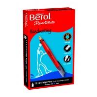 Berol Handwriting Cartridge Pens - Blue Ink - Pack of 12