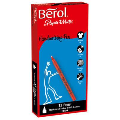 Berol Handwriting Pens - Black - Pack of 12