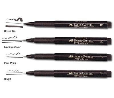 Faber Castell Artist Pens - Black - Assorted Nibs - Pack of 4