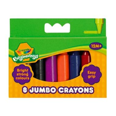 Crayola Beginnings Jumbo Crayons - Assorted - Pack of 8 - 1 year+