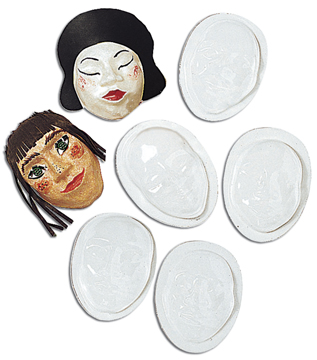 Papier Mache Face Mask Moulds - Assorted - Pack of 10