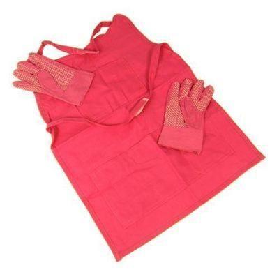 Childrens Pink Cotton Gardening Apron & Gardening Cloves - Pack