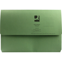 Foolscap Document Wallet - Green - 285gsm - Pack of 10