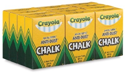 Crayola Anti-Dust Chalk - White - 12 x Boxes of 12