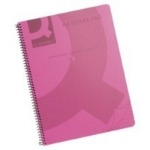 Spiral Lined Notebook - A4 - Pink Transparent Cover - Pack of 5