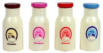 Milk Bottles - Assorted - Pack of 4