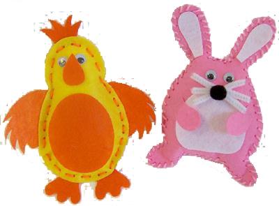 Easter Felt Chick & Rabbit Kit - Pack of 2