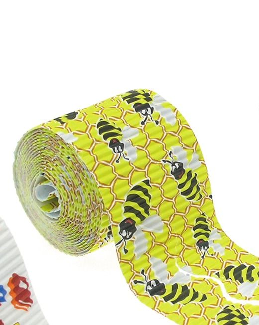 Busy Bees Wavy Corrugated Decorative Border Rolls - 3.75m - Pack of 2