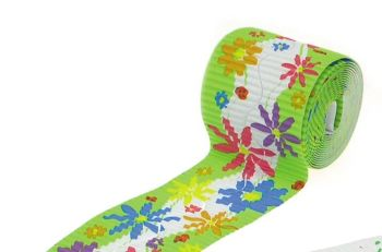 Corrugated Border Rolls - Spring Flowers - Wavy Edge - 3.75m - Pack of 2