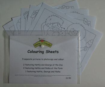Hattie & Friends Colouring Sheets - 10 separate pictures to photocopy and colour
