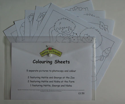 Hattie & Friends Colouring Sheets - 10 separate pictures to photocopy and c