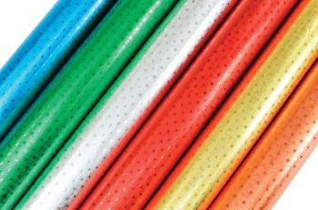 Embossed Star Foil Rolls - Assorted - 50cm x 1.5m - Pack of 6