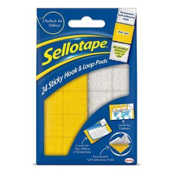 Sellotape Velcro Like Self Adhesive Hook & Loop Pads - Pack of 24