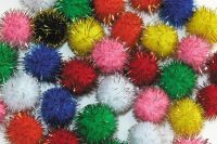 Pom-Poms - Glitter - Assorted - Pack of 100