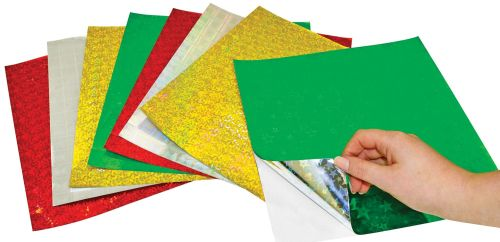 Holographic Self Adhesive Sheets - Assorted - 25 x 25cm - Pack of 25