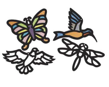Cellophane / Tissue Stained Glass Birds & Insects - Assorted - Pack of 24