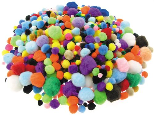Pom-Poms Class Pack - Bright - Assorted - Pack of 456g