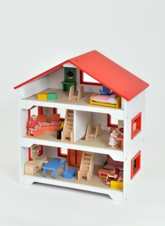 Split Level Wooden Dolls House - 77 x 67 x 37cm - Each