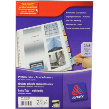 Avery Self Adhesive Tabs - 6 Assorted Colours - Pack of 96