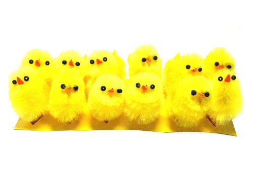 Fluffy Yellow Chicks - 3cm - Pack of 12