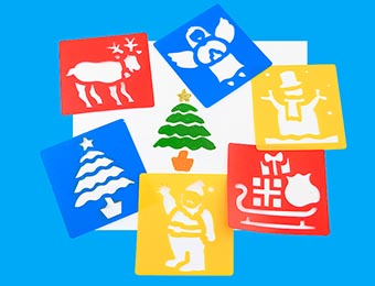 Christmas Washable Stencils - Assorted - Pack of 6