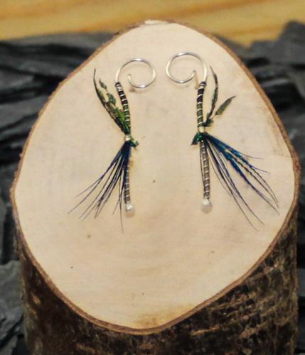 Coriander/peacock blue dragon earrings