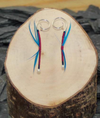 Wine red/blue dragon earrings