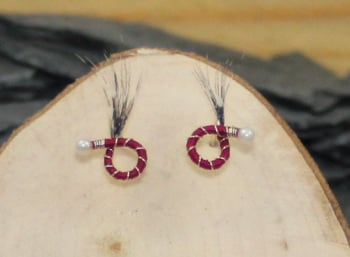 Wine red body black and white feather round nymphs