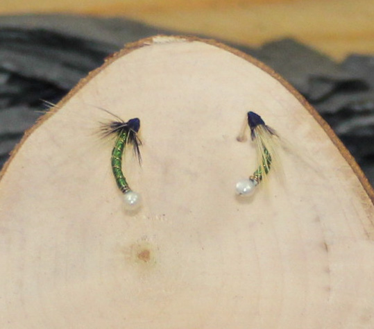 Forest green beige hackle nymph earrings