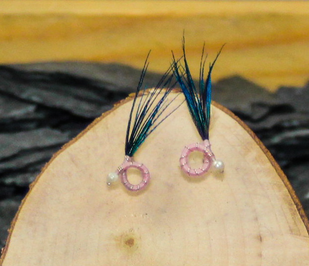 Pink body peacock feather round nymph earrings